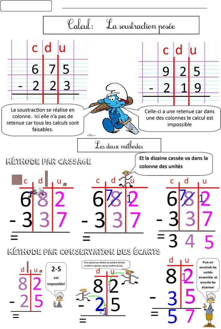 Calcul CE1 CE2 La soustraction posée (2 méthodes)   BLOG de Monsieur Mathieu GS CP CE1 CE2 CM1
