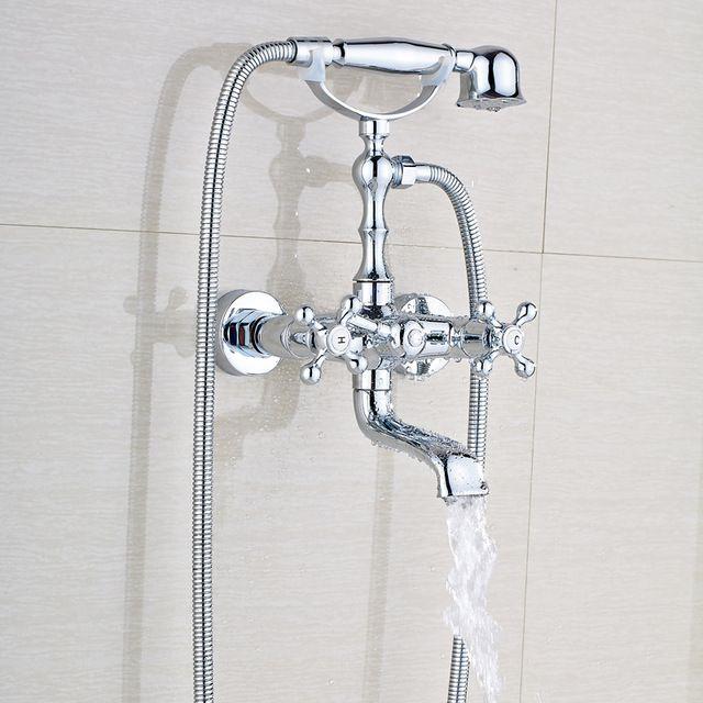Wall Mounted Brass Bathtub Faucet Polished Chrome Dual Handles