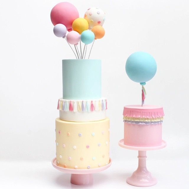 Balloon x confetti themed cake with tassels by @cuppyandcake ...