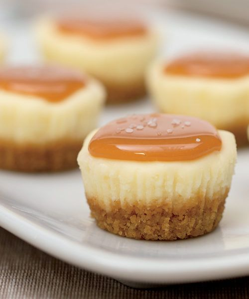 bite-sized salted caramel cheesecakes