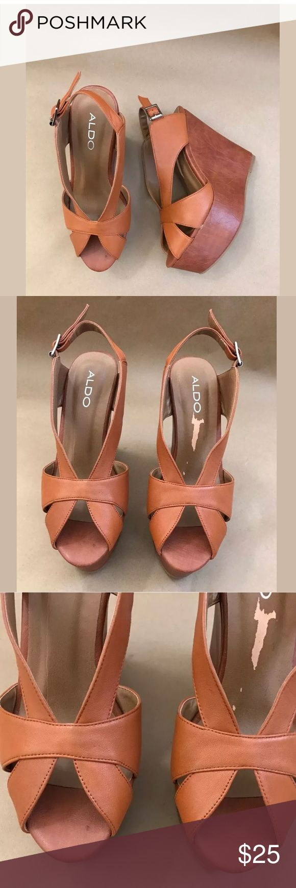 Aldo wedge platform slingback sandals size 6 Never been worn. Size 6. Brand: Aldo, color: Cognac, platform wedge Aldo Shoes Platforms
