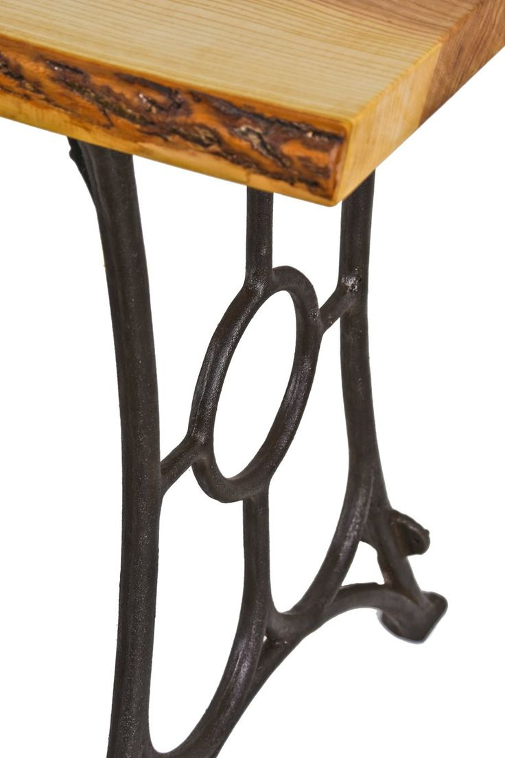 With massive wood top and iron cast base - Sturdy Oversized C Late Century American Industrial Window Sash Factory Edge Molding Or Shaper Machine Cast Iron Bases With Newly Added Live Edge White Oak