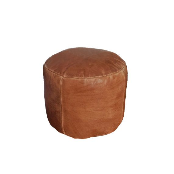 Round Leather Pouf Ottoman natural brown leather by MindaHome