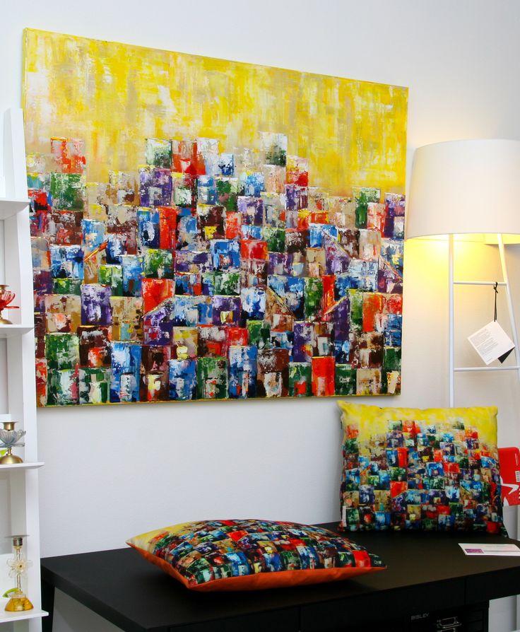 "Original painting and cushions by Paula Rindborg - Collection ""Morro Carioca I"""