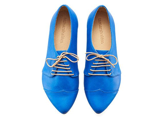 Oxford shoesRoyal blue Polly Jean handmade flats by TamarShalem