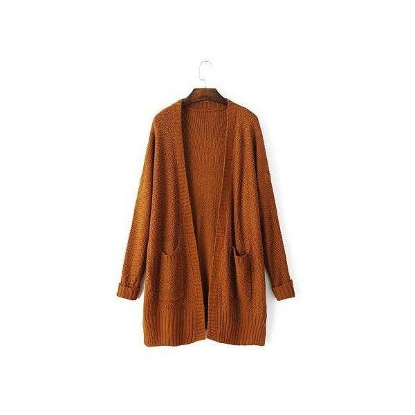 Yoins Brown Slouchy Chunky Knit Cardigan-Brown  One Size (46 CAD) ❤ liked on Polyvore featuring tops, cardigans, brown cardigan, slouchy tops, chunky knit cardigan, brown tops and slouchy cardigan