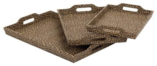 Leopard Print Wood and Faux Leather Tray Set eclectic serveware