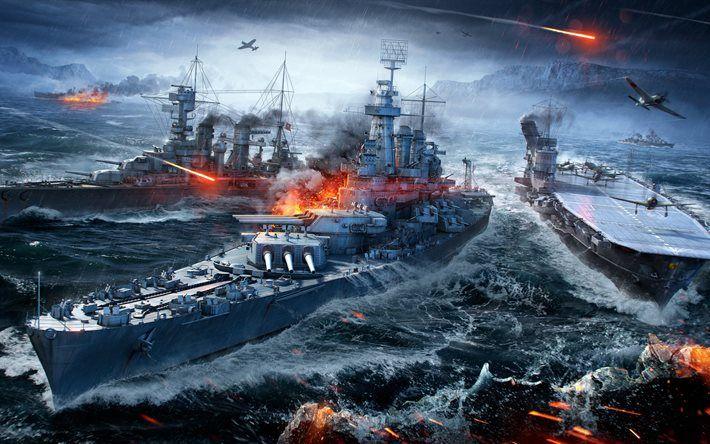 Descargar fondos de pantalla El mundo de los Buques de guerra, 4k, barcos, WoWS