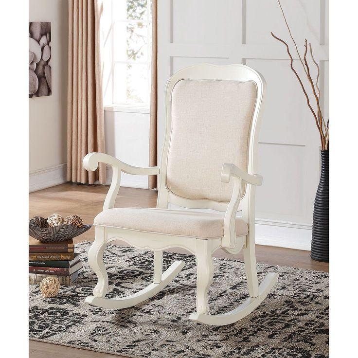 "Sharan Antique White Wooden Rocking Chair (Antique white, 33L x 29""W x 43""H), Beige Off-White (Fabric)"