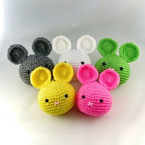 Handmade crochet hand therapy squeezable stress ball - Amigurumi mouse head - Custom color