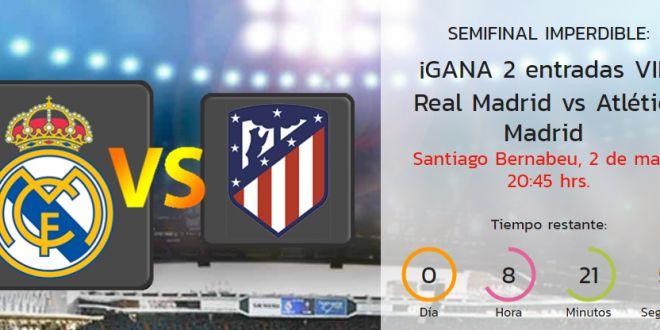 Sorteo de entradas para el partido de ida de semifinales de Champions League entre R.Madrid y Atlético de Madrid  – ¡¡ SOLO HOY SÁBADO 29!! http://sorteosconcursos.es/2017/04/sorteo-entradas-r-madrid-atletico-madrid-champions/
