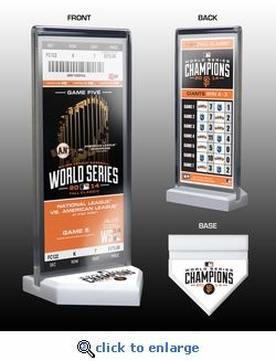 """2014 World Series Champions Commemorative Ticket Display - San Francisco Giants.  Includes World Series commemorative ticket as shown Commemorative ticket may be removed to be autographed If you have your own World Series ticket, the commemorative ticket may be replaced Base measures 3 1/2"""" x 3 1/2"""" x 1/2"""" Acrylic holder measures 3 1/2"""" x 8 1/2"""" x 3/8"""" Officially licensed by Major League Baseball"""