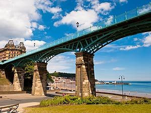 The Spa Bridge - Scarborough, England;  a footbridge built in 1827 to connect the Scarborough Spa to other attractions on St. Nicolas Cliff, allowing visitors to avoid the steep descent to the beach on the short walk between sites;  it was built 75 feet above the valley, and is 414 feet long and 13.5 feet wide