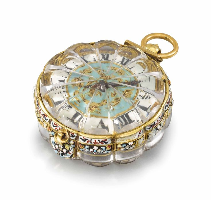 AN EXTREMELY FINE, RARE AND EARLY 22K GOLD, ENAMEL AND ROCK CRYSTAL SINGLE HAND PENDANT WATCH -  SIGNED PIERRE DUHAMEL, CIRCA 1660.