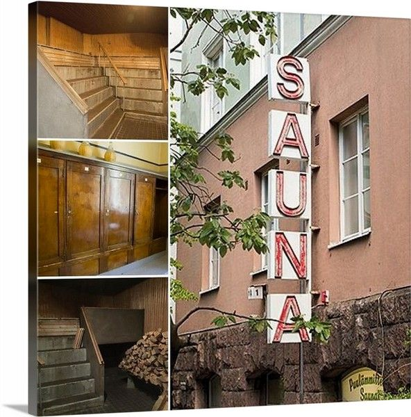 """Custom Stretched 24"""" x 24"""" canvas of Helsinki sauna pictures."""