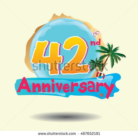 42nd anniversary logo with beach attribute and coconut tree
