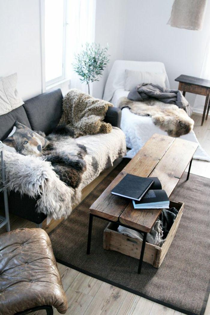 joli salon avec plaide fourrure plaid fausse fourrure pas cher pour les canapes