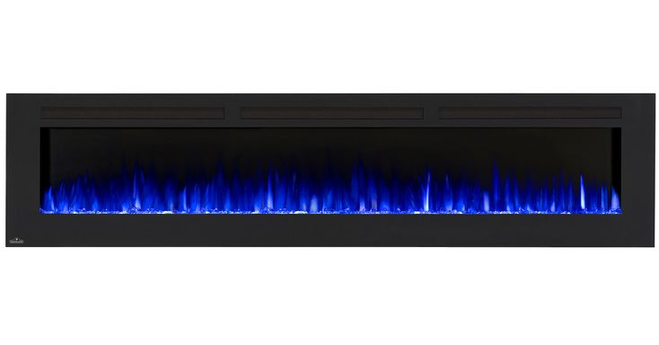 "Traditional orange flames, or cool blue flames, or a combination of the two will set the mood. The 5"" depth means that this fireplace doesn't intrude into your living space, but simply accents it with the expansive view of fire."