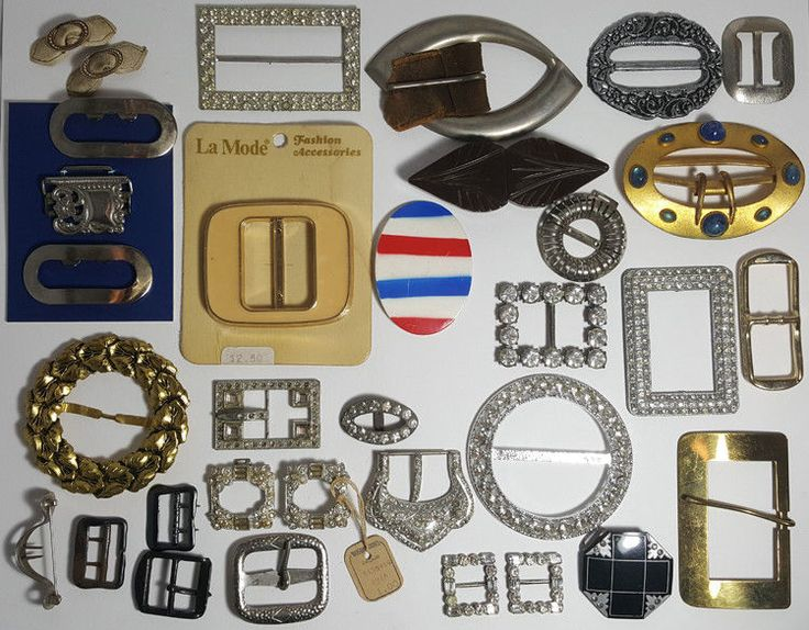 33 VINTAGE ASSORTED METAL BUCKLES BELT SCARVES SHOES CLIPS ... qty 33