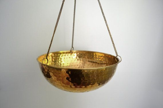 Vintage hanging brass planter hammered metal soft gold bowl houseplant holder with chains - Metal hanging planter ...