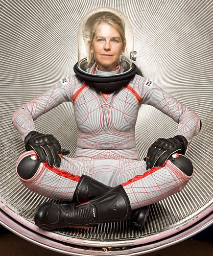 "next generation of NASA space suits. Designed by MIT engineer Dava Newman, the sleek ""BioSuit"""