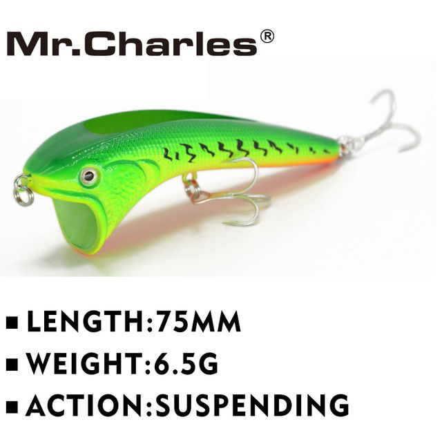 Г-н Чарльз CN51 рыболовные приманки 75 мм 6.5 г vib приостановлении, ассорти различных цветов, жесткий Bait