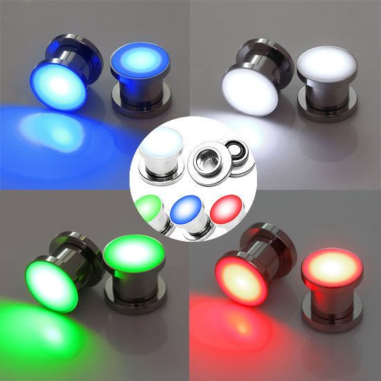 2pcs LED Light Surgical Steel Screw Ear Tunnel Plugs Gauge Stretcher Piercing