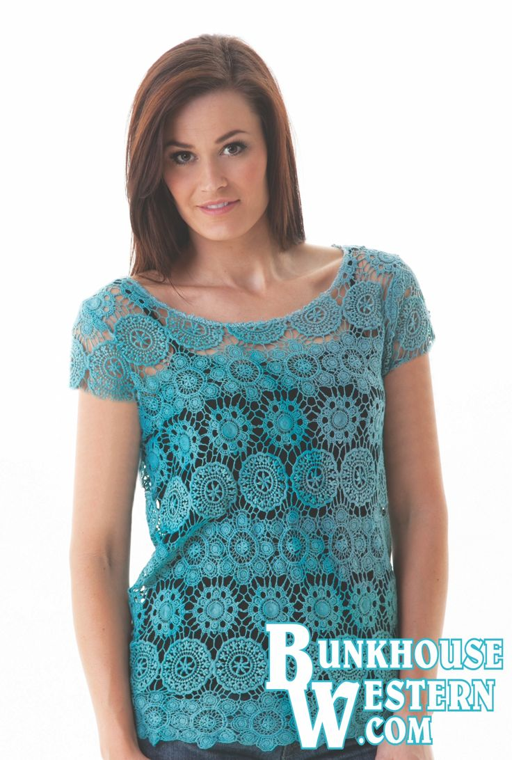 Cowgirl Tuff Company, Turquoise Crochet Tee, Lace Design, Cowgirl, Vintage, Rodeo, Barrel Racer, $54.99, http://www.bunkhousewestern.com/421_p/000421.htm
