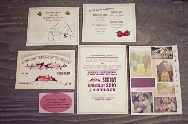 Wedding at a strawberry farm #weddings #invitations #stationary