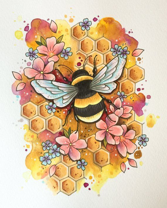 Bumble bee tattoo print, tattoo design, bee art print, honeybee decoration, bee keeper, watercolour painting, wildlife art, mothers day, eco #tattootatuagem