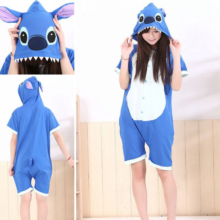 Blue Stitch Pajamas Animal Onesie Hoodie Kigurumi Short Sleeve Costume