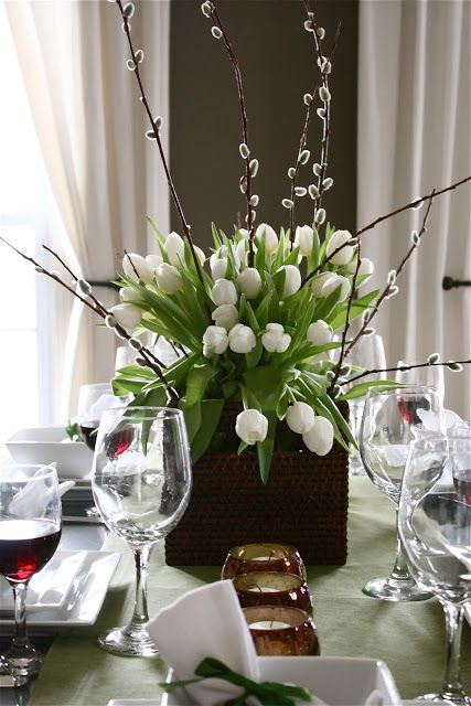 The Yellow Cape Cod: Tulip and Pussy Willow Centerpiece Tutorial