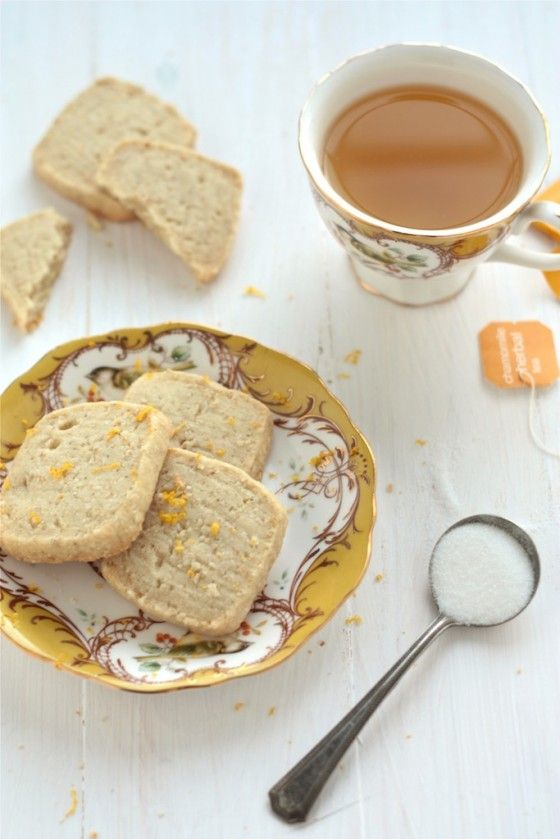 """Lemon Chamomile Shortbread Cookies.. yum! love biscuits and tea. Now, if the English call cookies """"biscuits"""" what do they call biscuits?"""