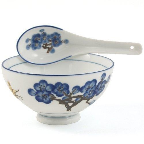 Asian Blue Cherry Blossom and Butterfly Rice Bowl and Spoon Set 12 Pieces