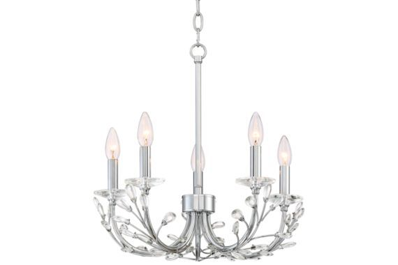 Brielle 18-Inch-W Chrome 5-Light Chandelier