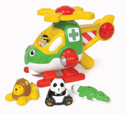 $27.00 WOW Harry Copters Animal Rescue - Safari Vehicle (5 Piece Set). Up, up and away, Harry the helicopter to the rescue! Hold his sturdy handle and squeeze the trigger to activate his friction-powered main rotor, then pick-up the injured animals with his magnetic lift and drop them off safely by turning the searchlight. Hes also got a clicking tail rotor! A flying vet figure, and a panda, lion and crocodile complete this wonderful role-play set. 2 - 5 Years