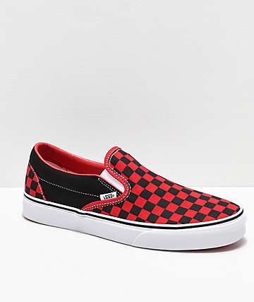 472b3ed462d Vans Slip-On Black   Formula Red Checkerboard Skate Shoes