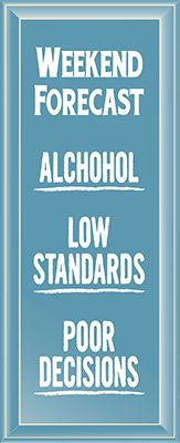 """Weekend Forecast Alcohol Low Standards Poor Decisions 18"""" Routered Wood Sign"""