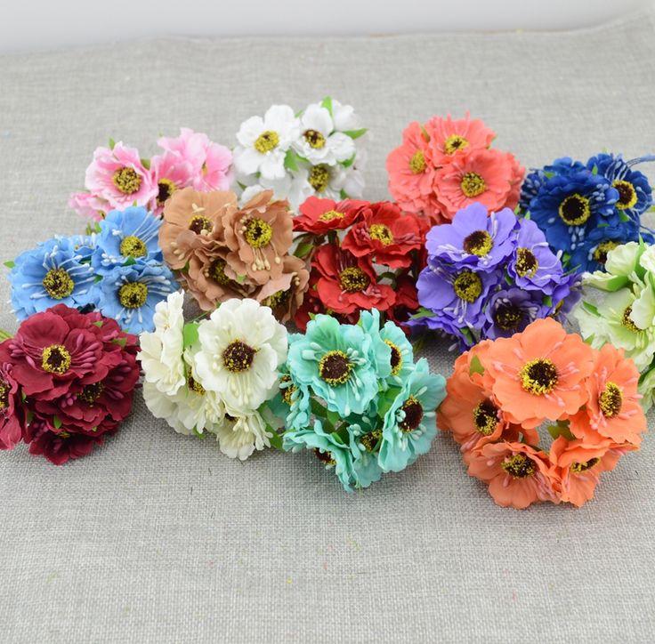 6pcs/lot simulation artificial cherry blossom Artificial Flower Wedding Car Home Decoration Bride Bouquet handmade Silk Flower
