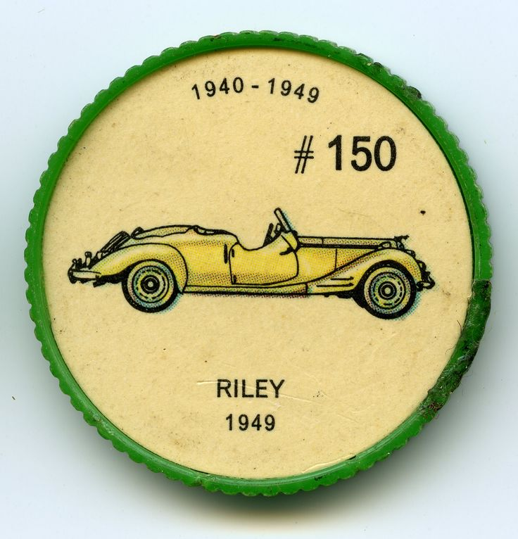 Jello-O Coin 150 - Riley (1949) - The four-cylinder engine that powered the post-war Riley made this car very powerful for its size. Fitted with independent torsion bar suspension, hydraulic front brakes and mechanical rear brakes, the car was capable of 105 m.p.h.