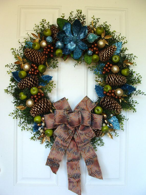 Teal Christmas wreath with lime green apples by ThePerfectGarden, $120.00