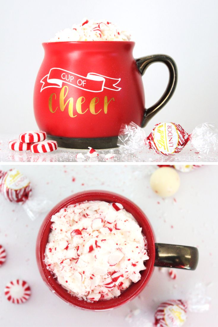 8 ounces milk, warmed 2 LINDOR White Chocolate Peppermint Truffles 1 LINDOR White Chocolate Truffle 2 tablespoons Whipped Cream Vodka (optional) Garnish: Whipped cream, chopped peppermints  Heat milk in saucepan until warm, but not boiling. Drop LINDOR truffles in your favorite mug. Pour hot milk over truffles and whisk until the truffles are completely melted. Add vodka if using and whisk to combine. Garnish with whipped cream and chopped peppermints.
