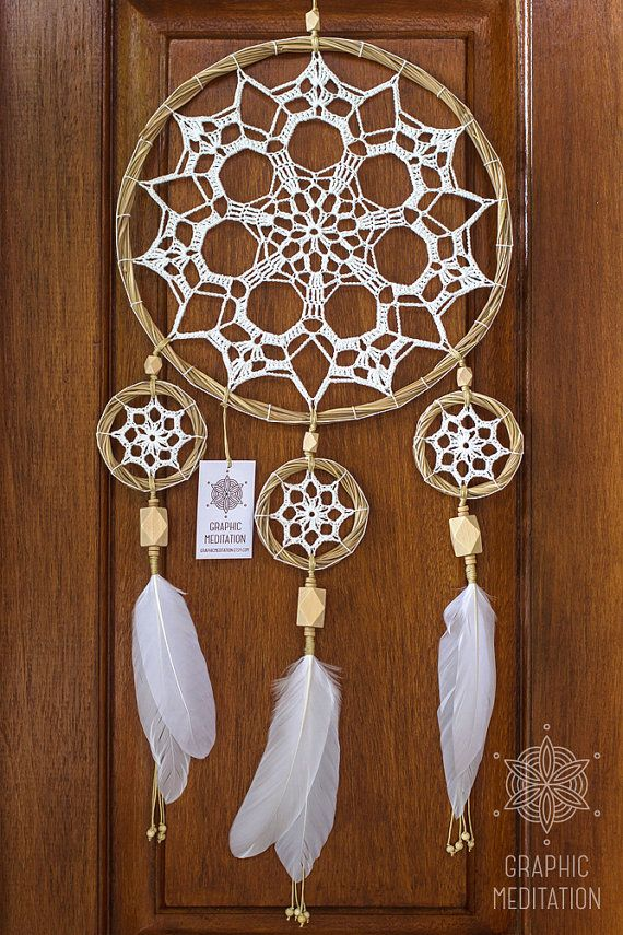 Large dream catcher wall hanging, White doily dreamcatcher, Unique wedding gift dream catcher, Triple lace crochet dreamcatcher for nursery
