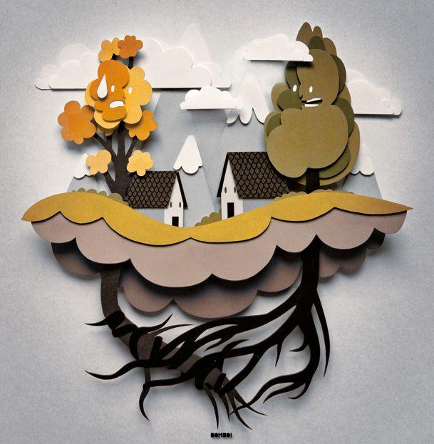 Les illustrations en papier de Bomboland illustration papier decoupe 04 design bonus