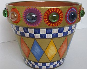 Whimsical Flowers Terracotta Planter by PleasureForTheSOUL