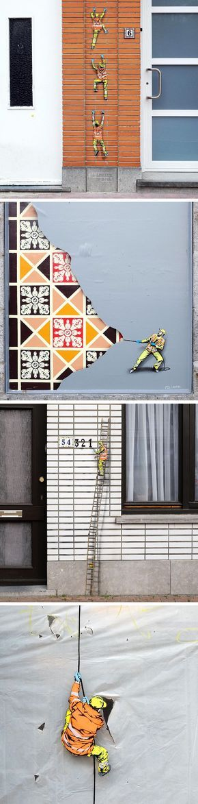 Tiny street murals by jaune unveil a world of miniature city workers