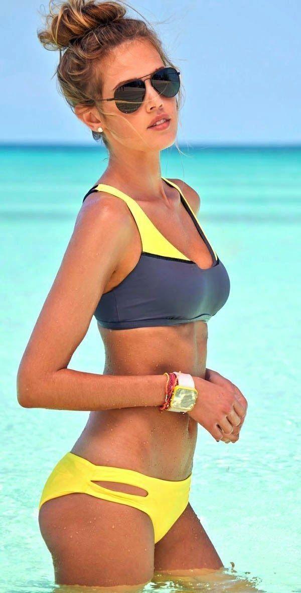 #summer #bathing #suit #inspiration | Yellow + Grey Sporty Bikini