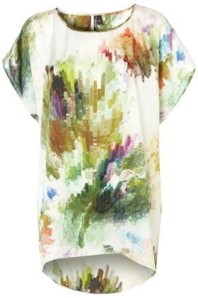 Modern and arty, like a pixelated Monet...perfect with colorful strappy sandals.Strappy Sandals, Floral Prints, Graphics Prints, Colors Burst, Colours Burst, Tunics Tops, Colors Strappy, Burst Tunics, Tops Shops