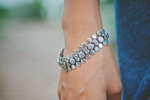 Banjara Metal Moon Bracelet by LaMirraFashion on Etsy, $9.06