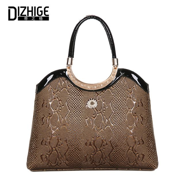For Sale $19.84, Buy DIZHIGE Women Handbag Leather Bag Ladies Top Handle Bag Female Tote Bag Women Luxury Brand Designer Serpentine Pattern Woman Bag